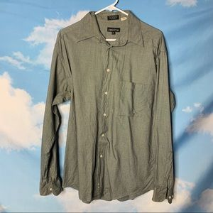 Claiborne- B&W Button Up Long Sleeve Shirt 15.5